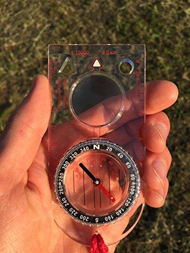 Reliable Outdoor Gear Kartenkompass (der ideale Kompass für Survival, Orientierung, Navigation, Backpacking) Magnetischer Steuerkurs, flüssigkeitsgefüllt, Azimutlager, Bodenplatte mit Kartenlineal
