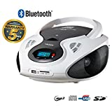 Lauson CD-Player Bluetooth | Tragbares Stereo Radio | USB | CD-MP3 Player für kinder | Stereo Radio | Stereoanlage | Kopfhöreranschluss | AUX IN | LCD-Display | Batterie sowie Strombetrieb | CP640 (Weiß)