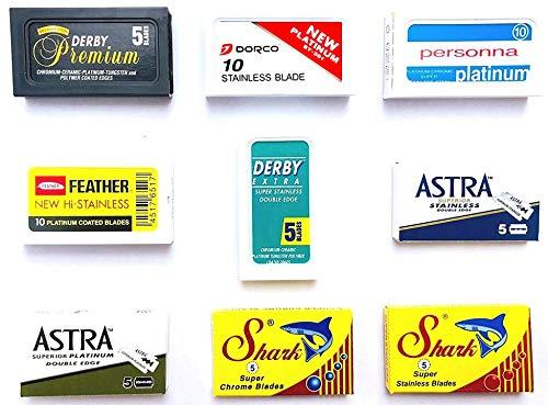 60 Rasierklingen für Rasierhobel, Astra-Derby-Feather-Dorco-Shark-Personna-Shark, Rasierklingen Set, 9 verschiedene Klingentypen