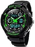 Digital Uhren für Kinder Jungen - 50 m Wasserdicht Outdoor Sports Analog Armbanduhr mit Alarm/Timer/Dual Time Zone/LED-Licht, Kinder, die elektronische stoßfest Handgelenk Uhren für Jugendliche