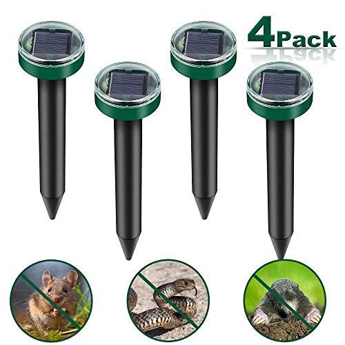 Vivibel 4 Stück Solar Maulwurfabwehr,Ultrasonic Solar Maulwurfschreck,Mole Repellent, Wühlmausschreck, Wühlmausvertreiber mit IP65 für Den Garten (Grasgrün)