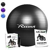 Reehut Anti-Burst Kern Übungsball mit Pumpe & eBook für Yoga, Balance, Workout, Fitness - Schwarz 65cm