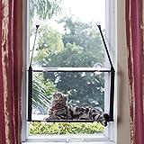 L.S Katzen Haengematten Fenster Katzenbett Bis zu 25kg Stabiler Metallrahmen Hängematte Weiche Betten Sofas Matten Fensterplätze (Doppelt, Grau)