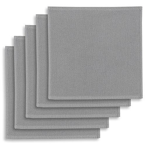 KRACHT, 5er-Set Geschirrtuch, Spültuch, Multifunktion Baumwolle grau, Edition ziczac-affaires, ca.30x30cm