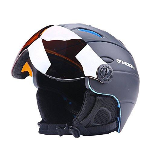 Sport Tent-Skihelm Snowboardhelme mit abnehmbarem Visier Unisex Erwachsene Wintersport Professionell Windproof Leichtgewicht Premium Helm (L(58-61cm), Schwarz)