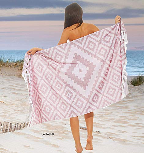 Naturawalk Frottee Hamamtuch 100% BIO Baumwolle Strandtuch, Saunatuch, Pestemal, Pareo, Badetuch in einem - (96 x 180 cm, LaPalma)