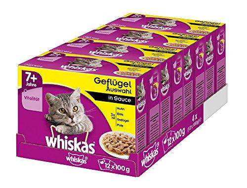 Whiskas Katzenfutter Nassfutter Senior 7+ Geflügelauswahl in Sauce, 48 Portionsbeutel (4 x 12 x 100 g)