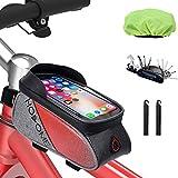 HOSOME Fahrrad Rahmentasche Wasserdicht Fahrradtasche Lenkertasche TPU Touchscreen Fahrrad Handyhalter für Smartphones unter 6 Zoll, Rot