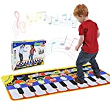 Renfox Tanzmatten Klaviermatte Musikmatte Kinder, Piano Spielteppich Matte Faltbare Spielmatte Musik mit 19Tasten und 8 Instrumenten, Musikinstrument für Baby Kleinkind Kinder