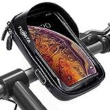 TURATA Fahrrad Lenkertasche Wasserdicht Rahmentaschen Multifunktional Motorrad Handyhalterung für 6' Handy, Personalausweis, Bankkarte, Kopfhörer