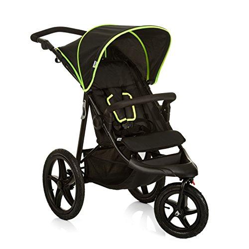 Hauck Runner Buggy, Jogger mit Liegefunktion, klein zusammenfaltbar, für Kinder ab 6 Monate bis 22 kg, schwarz (Black/Neon Yellow)