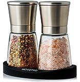 Modetro Salz und Pfeffermühle | Gewürzmühlen Set mit einstellbarem Keramikmahlwerk | Menagen aus Glas und Edelstahl