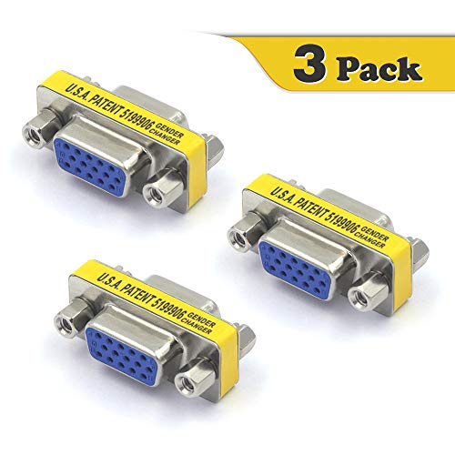 VCE 3 Stück VGA Kupplung VGA Buchse auf VGA Buchse Adapter D Sub Adapter 15Polig SVGA Gender Changer