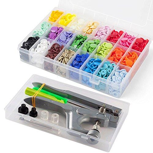 T5 Druckknöpfe mit Snaps Zange, Cooleaf 360 Set KAM T5 Druckknopf in 24 Farben für DIY Basteln (360 sets KAM T5 Druckknöpfe  and Snaps Zange)