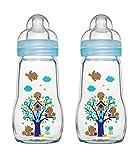 MAM 67036711 - 2 Stück Feel Good Glass Bottle 260 ml Glas Flasche für Junge