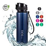 720°DGREE Trinkflasche 'uberBottle' crystalClear - 500 ml, 0,5 l, Blau | Neuartige, Durchsichtige Tritan Wasser-Flasche Water Bottle | Ideal für Kinder, Fitness, Fitnessstudio, Fahrrad, Gym, Fussball