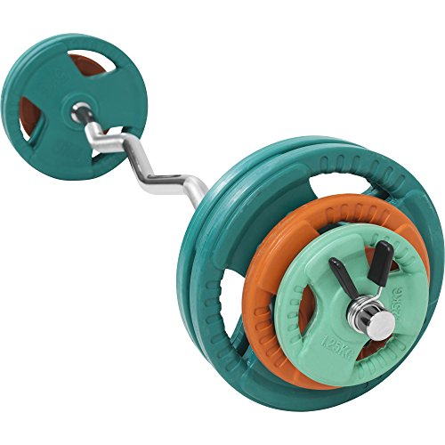 GORILLA SPORTS SZ-Curlset 35 kg Gummi Gripper – SZ-Hantelstange, Gewichten und Federverschlüssen