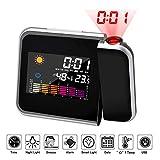 Hangrui Projektionswecker, LCD-Digital Wecker mit Schlummerfunktion, Innentemperatur ℃ / ℉, Hintergrundbeleuchtung, USB-Aufladung, 12 / 24h (Schwarz)