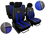 POK-TER-TUNING Autositzbezüge Passend für Corsa C. Sitzbezüge Set Kunstleder mit Alcantra. Design GT. in Diesem Angebot Blau.