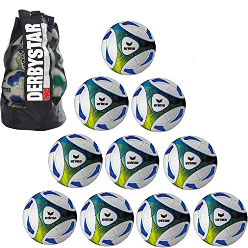 10x erima Hybrid Training royal/lime Größe 5 + 1x Ballsack Ballpaket TOP PREIS Teamsport Plum