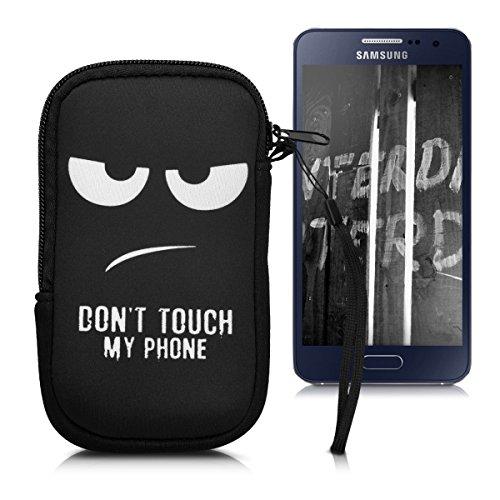 Handytasche Neopren Sleeve für Smartphones M - 5,5' - kwmobile Handy Tasche Case Schutzhülle mit Don't touch my Phone Design Weiß Schwarz