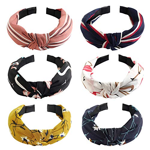 6 Stück Haarreif Damen Vintage Breit Haarband Retro Stirnband Haarreifen mit knoten Kopf Warp