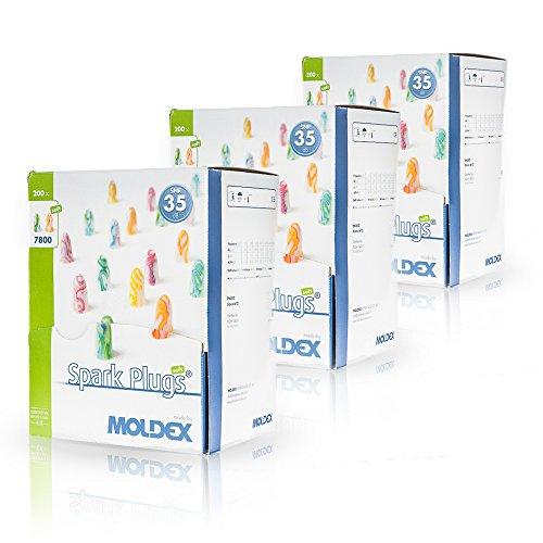 200 Paar Ohrstöpsel / Gehörschutzstöpsel – Spark Plugs Soft (7800) von Moldex - Gehörschutz mit SNR 35dB - Paarweise hygienisch und praktisch verpackt