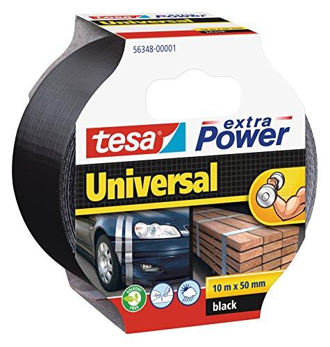 tesa Extra Power Universal Gewebeband (Wetterfestes Reparaturband, 10 m x 50 mm), schwarz, 932575