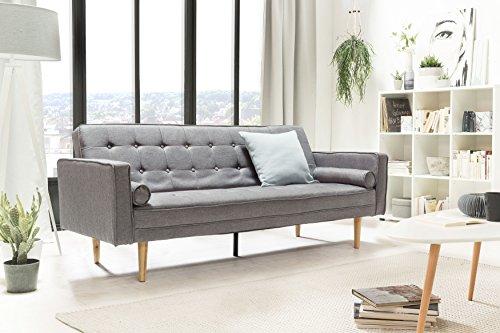 SalesFever Designer Schlafsofa, Couch mit Schlaffunktion, Stoff Grau, Holz Eiche, FSC 100% zertifiziert