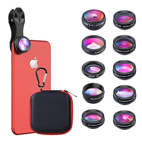 10 in 1 Handy Kamera Objektiv Set Fisheye Objektiv, Weitwinkelobjektiv, Makro Objektiv, Teleobjektiv, Kaleidoskop 3/6 Objektiv, CPL / Flow / Star / Radial Filter Clip-on Meiste Smartphone Universal