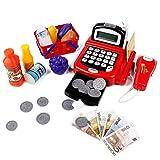 Kaufmannsladen Kasse Kaufladen Kinder Spielzeug Registrierkasse mit Elektronischem Taschenrechner Scanner und Spielgeld Rollenspiel ab 3 4 Jahren