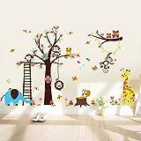 WandSticker4U- XXL Wandtattoo'Lustige Tierwelt in Dschungel'   Wandbild: 235x140cm   Baum Giraffe Ast Affen Eule Elefant Waldtiere Zoo   Wandsticker Aufkleber Deko für Kinderzimmer Baby