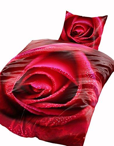 Leonado Vicenti 4 teilig Winter Bettwäsche Thermofleece 135x200 weich , Maße:135 cm x 200 cm, Fleece Bettwäsche:Rose