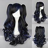 Ladieshair Cosplay Perücke schwarz blau 70cm wellig Lolita Cosplay