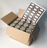 Marmeladenglas, sechseckig, inkl. silberfarbenem Deckel und Etiketten, 230 ml, 24 Stück