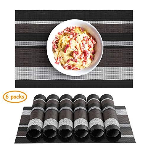 Chefic Platzsets 6er Set, Elegante PVC Tischsets Abwischbar 45x30cm rutschfest Platzdeckchen, Premium Hitzebeständig und Abgrifffeste TischmatteAbwaschbar für Küche Speisetisch - Schwarz&Braun