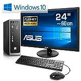 Mini-PC CSL Ultra Silent J3455-2 inkl. 24' ASUS TFT/Win 10 - ASRock J3455B-ITX, Intel QuadCore-CPU 4X 1500 MHz, 240GB SSD, 8GB DDR3, Intel HD Graphics, GigLAN, 7.1 Sound, USB 3.1