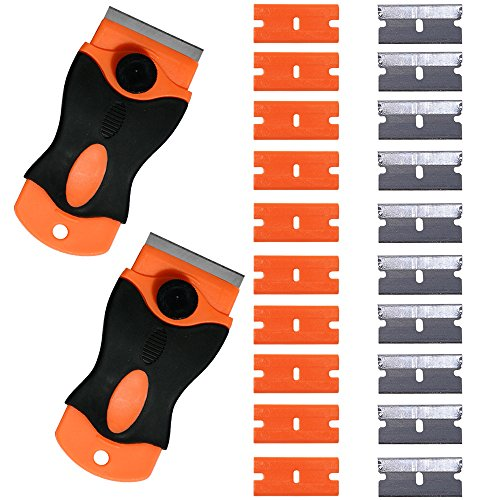 Ehdis 1,5-Zoll 2 Stk Mini Metall Rasiermesser Griff Schaber mit 10 Kohlenstoffstahl und 10 Kunststoff Klingen zum Entfernen von Kleber, Farbe, Abziehbilder, Tönung