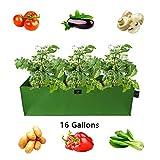 Laxllent Pflanzen Tasche,Gemüse Pflanzsack,Tasche für Blumen,Kräuter, Dauerhaft Atmungsaktiv,mit Tragegriffen,Luftloche,Stangen,im Garten,Balkon,Rechteck,85x35x25cm,Grün