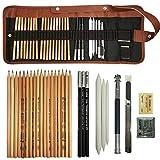 COOJA Skizzen Zeichnen Bleistift Set, Kunst Zubehör Zeichenset Skizzierstifte Mäppchen mit Graphitstifte, Kohlestifte, Extender für Künstler Kinder Erwachsene