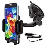 Mobilefox KFZ SET 360° Universal Handy Halterung Auto Halter für die Windschutzscheibe mit Ladekabel