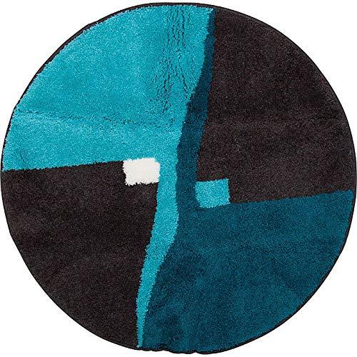 Erwin Müller Badematte, Badteppich, Badvorleger rutschhemmend türkis Größe rund 90 cm Ø - kuscheliger Hochflor, für Fußbodenheizung geeignet (weitere Größen)