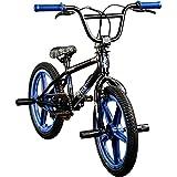 deTOX BMX 18 Zoll Rude Skyway Freestyle Bike Street Park Fahrrad viele Farben (schwarz/blau)