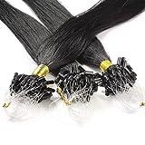 hair2heart 150 x 0.5g Echthaar Microring Loop Extensions, 60cm - glatt - #1 schwarz - Loops Haarverlängerung