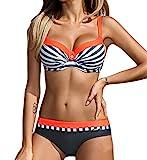 YaoDgFa Sexy Damen Bikini Bademode Badeanzüge Bikinis für Frauen Mädchen Bandeau Push up mit Bügel Neckholder Bandage Große Größen, EU L (Tag XL), #01 Orange