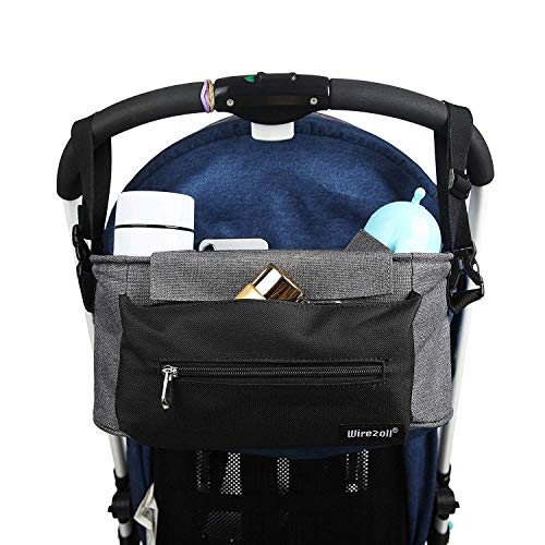 Kinderwagen Organizer, Universale Baby Kinderwagentasche Buggy Tasche mit Stahlring und verstellbaren Bändern (Grau)