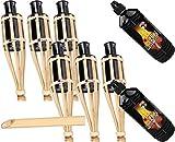 90cm Moritz Gartenfackel Garten Bambusfackel Gartenfackeln Öllampen Bambus Deko Fackel incl. 2 Liter Lampenöl (6 Fackeln und 2 X Lampenöl)