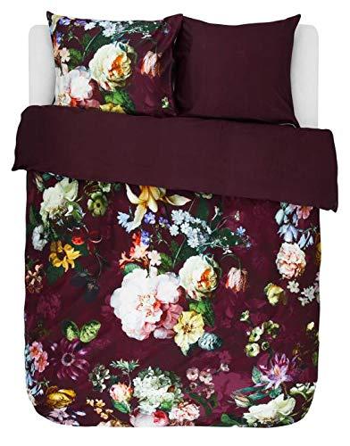ESSENZA Bettwäsche Fleur Blumen Pfingstrosen Tulpen Baumwollsatin Rot, 135x200 + 1 X 80x80 cm