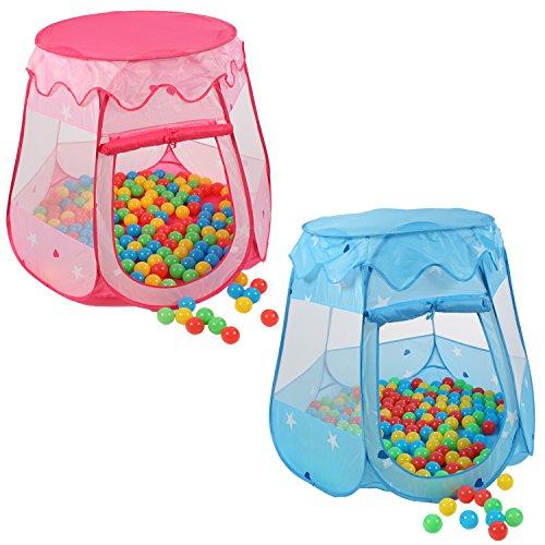 KIDUKU Kinderspielzelt + 100 Bälle + Tasche Spielhaus Bällebad Schloss für drinnen und draußen (Blau)