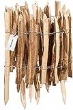 HOLZBRINK Staketenzaun aus Haselnuss, Rollzaun, Steckzaun mit integrierten Pfosten, Höhe: 50 cm, Länge: 500 cm, Lattenabstand: 7-8 cm, HSZ-02-50-500-7-8